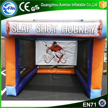 Inflatable carnival game goal shooting target inflatable slap shot hockey for party rentals