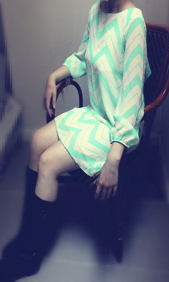 Mint Chevron Dress with Bow Back Cute Zig Zag by LemniscateAddict, $38.99