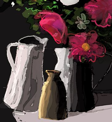 pots and pink flowers, Kathy Lewis. Digital art. iPad painting, flowers