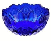 Fruit Bowl: Large Heritage Diamond Cut Cobalt Blue Glass Bowl