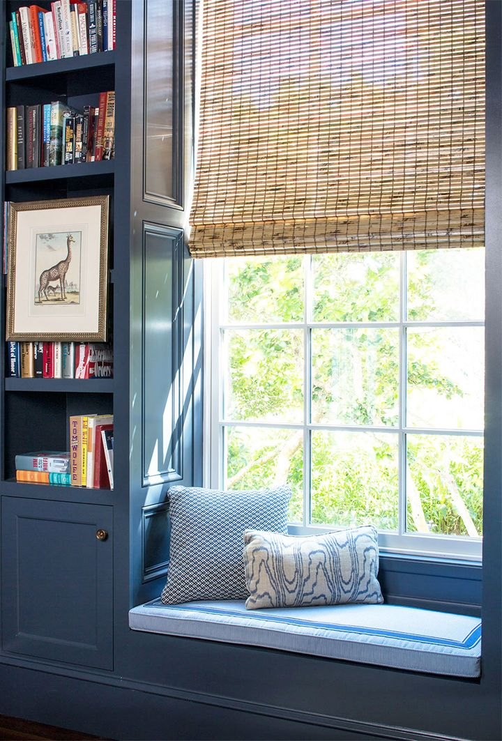 blue built-in window seat by Andrew Howard Interior Design