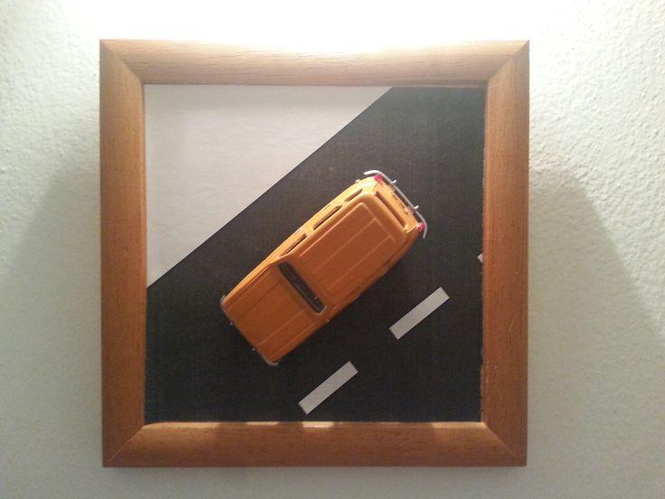 Wooden frame, car model Renault 4, 1:43