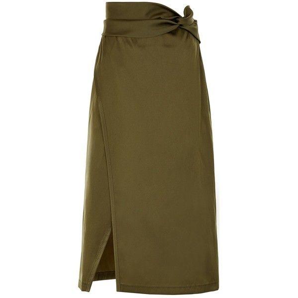 3.1 Phillip Lim Everglade Satin Knotted-Waist Skirt (14.325 RUB) ❤ liked on Polyvore featuring skirts, high waist knee length pencil skirt, bandeau tops, high-waisted pencil skirts, high-waisted skirts and high-waist skirt