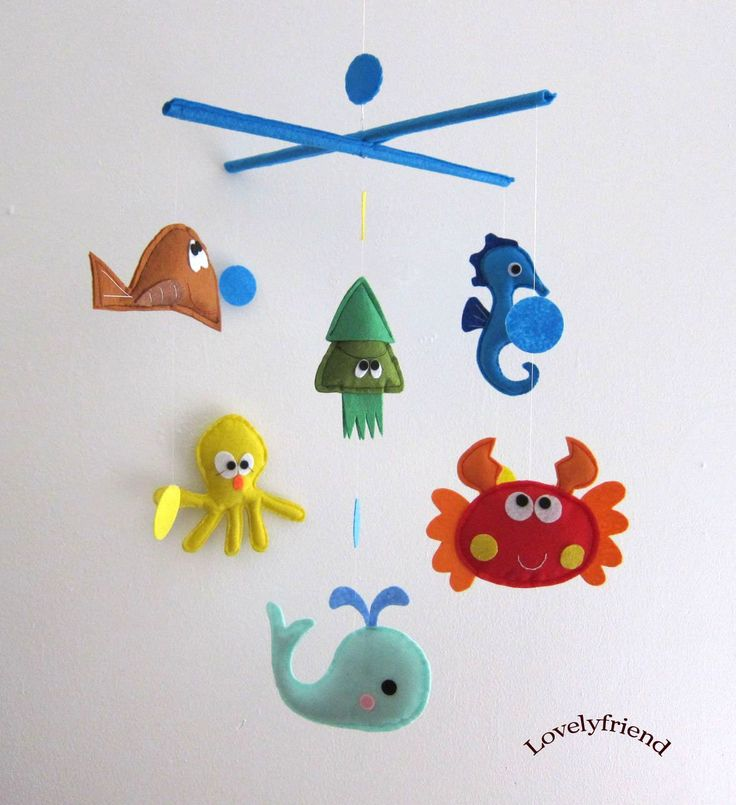 Baby Crib Mobile - Baby Mobile - Felt Mobile - Nursery mobile - Red Crab (Custom Color Available). $78.00, via Etsy.