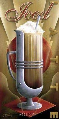 Art Deco poster: Deco Ice, Latte Art, Art Deco Styl, Art Deco Poster, Art Deco Coffee Poster Prints, Art Poster, Ice Coffee, Art Deco Inspiration, Coffee Art