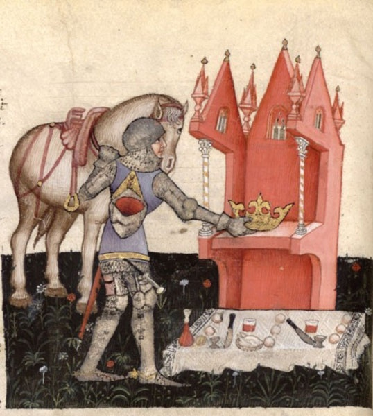 Queste del Saint Graal. Italie, Milan, vers 1380-1385. BNF, Manuscrits occidentaux, Français 343, fol 13v