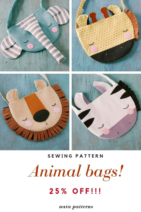 Sewing Pattern for Kids PDF Animal Bag Girl Gift Lion Sewing Zebra Pouch Elephants   – Sewing