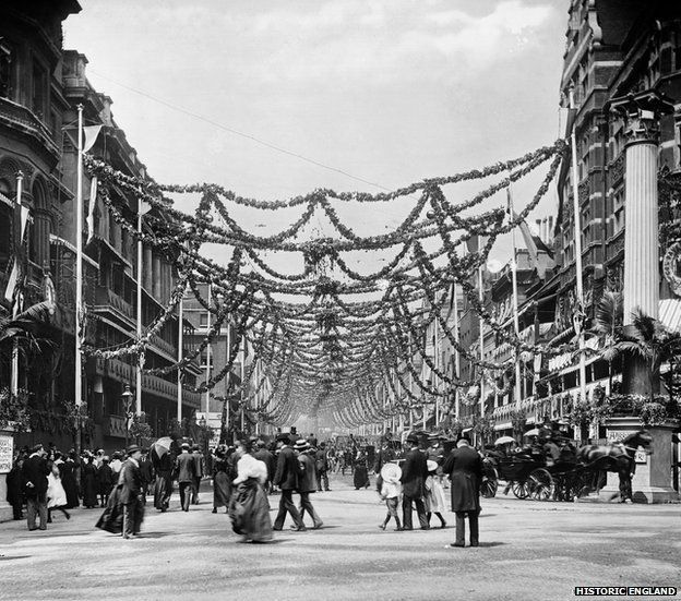 Diamond Jubilee decorations, St James's Street, London 1897. York & Son