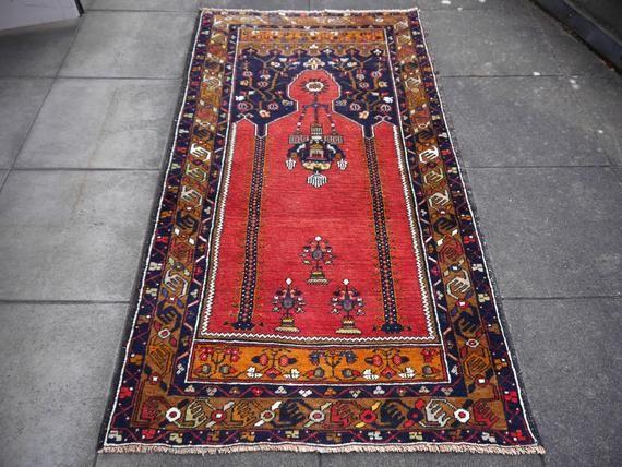Jahrgang Turkischer Teppich 6 X 3 4 Ft 180 X 100 Cm Boho Teppich Boho Stil Teppich Turkische Rot Blau Gebetsteppich Turkish Rug Rugs Bohemian Rug