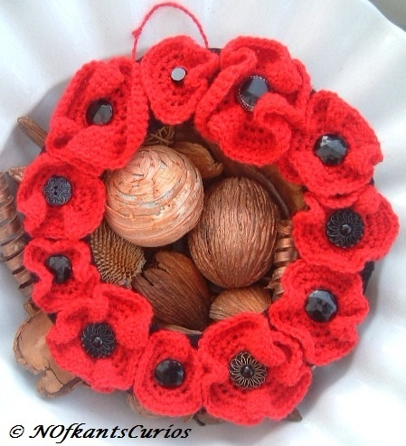 NOVEMBER 2012 - Poppies - Poppy Wreath!  Crocheted and Vintage Glass Button Wreath Decoration, by NOfkantsCurios, £12