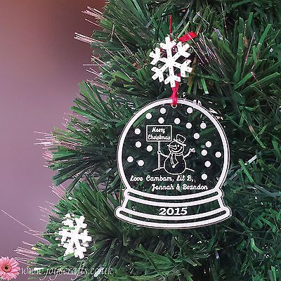 #Personalised merry christmas #snowglobe tree decoration / #bauble - up to 4 name,  View more on the LINK: http://www.zeppy.io/product/gb/2/371468860947/