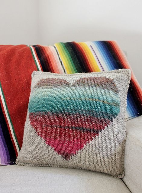 Watercolor Heart Pillow (knit, free Ravelry download).