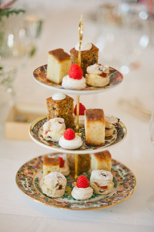 English Afternoon Tea Cake Stand Scones Served With Clotted Cream And Strawberry Jam Carrot