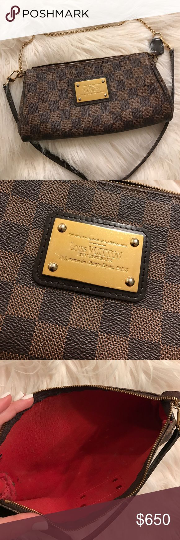 Eva Clutch brown checkered eva clutch with dust bag and shoulder strap Louis Vuitton Bags Crossbody Bags