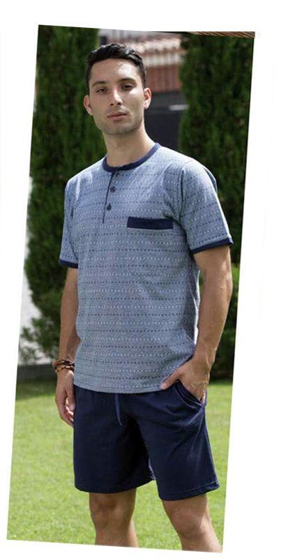 OFERTA PETTRUS MAN - Pijama de manga corta y pantalón corto tipo bermuda en colores clásicos pensado para los días de calor de primavera y verano. Algodón 100%.