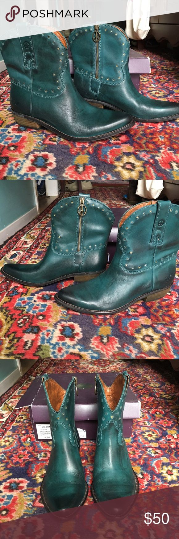 Lucky Brand Chantel green short cowboy boot 8.5 Here is a cute pair of Lucky brand short green cowboy boots in size 8.5. Worn once or twice and stored in box. Lucky Brand Shoes Ankle Boots & Booties
