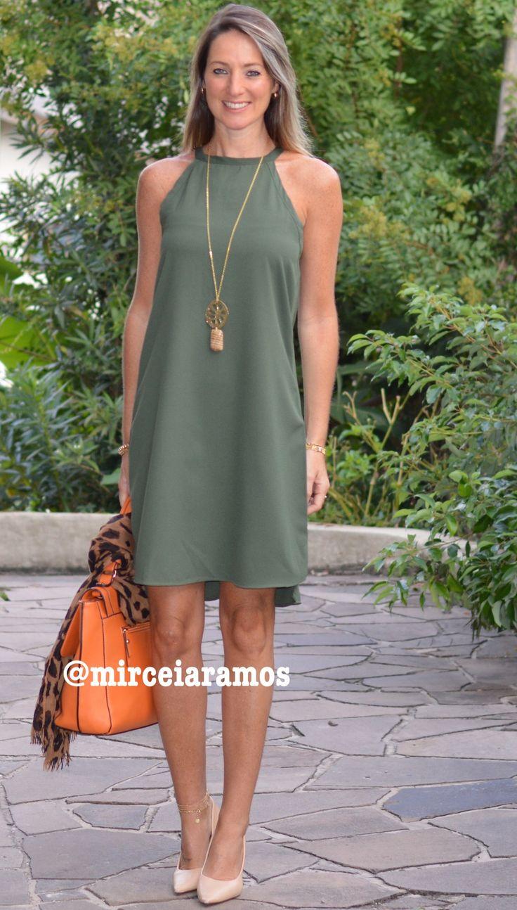 Look de trabalho - look do dia - look corporativo - moda no trabalho - work outfit - office outfit -  spring outfit - look executiva - summer outfit - vestido - tubinho A verde militar - green - bolsa Laranja - orange - animal print