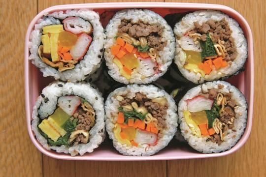 Gimbap or Kimbap is similar to sushi, but the biggest difference between the two is that the rice in gimbap is seasoned with sesame oil, and the rice in sushi is seasoned with vinegar.