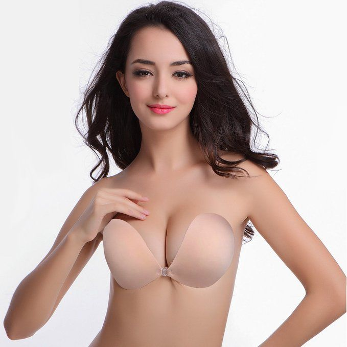 Allezola Invisible Strapless Backless Self Adhesive Silicone Push ...