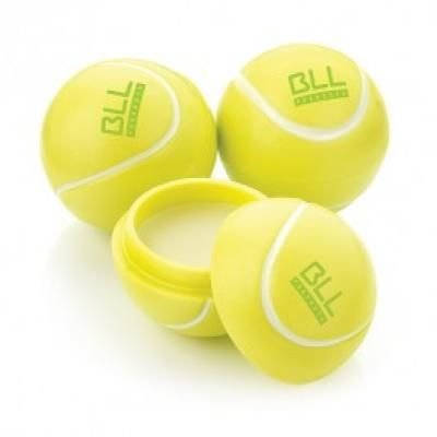 Image of Branded tennis Ball Shaped Lip Balm. Vanilla Flavoured