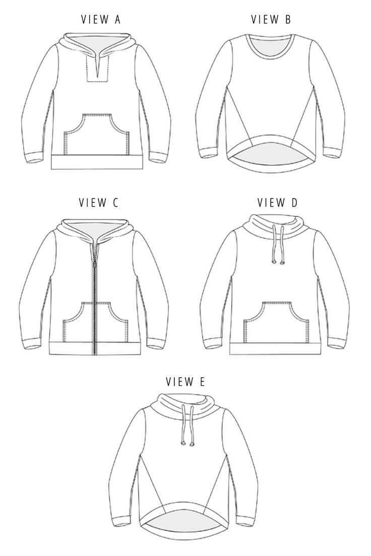 The Halifax Hoodie sewing pattern by Hey June is a casual pullover or zip-up sweatshirt with five different views.