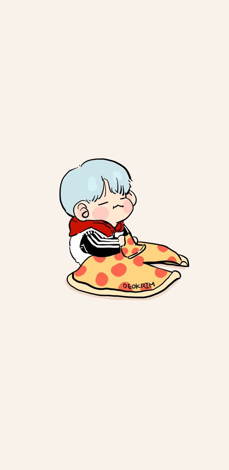 Yoongi FanArt | CUTE but why pizza:)