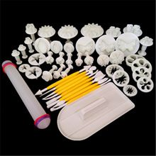 46pcs Mixed Fondant Plunger Cutter Mold Fondant Cake Decoration Kitchen Baking Tool Sets Dessert Decorate Tips Colour Random(China (Mainland))
