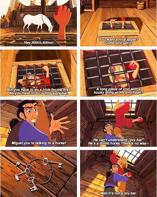 "Well, it's not a pry-bar.  I swear they took my bestie's, Amanda S., & I's personalities for ""Road to El Dorado"". She is Tulio & I'm Miguel."