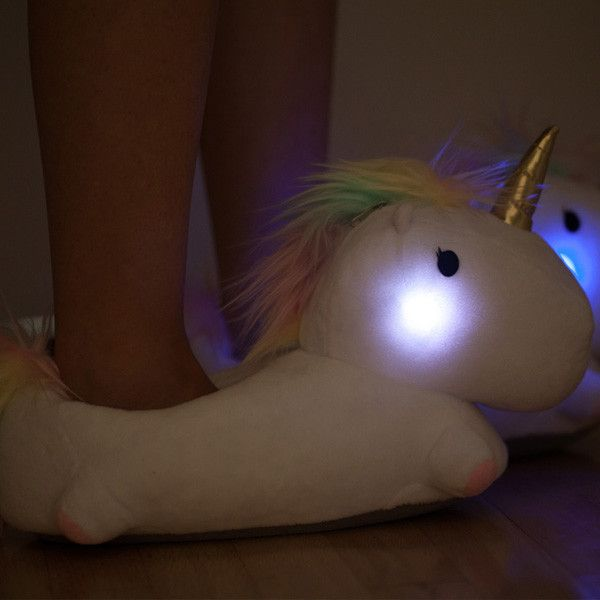Description Features Specifications Light up your life, or at least your route to the bathroom, with our new and very cute Light Up Unicorn Slippers! Be the env