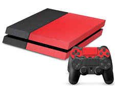 Matte Red Black Custom Skins for Playstation 4 PS4 Console + Controller Stickers