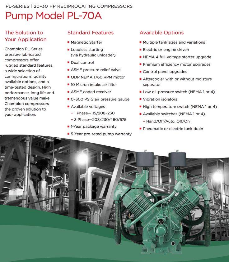 Champion 20, 25 or 30 HP Air Compressor Pump Pressure