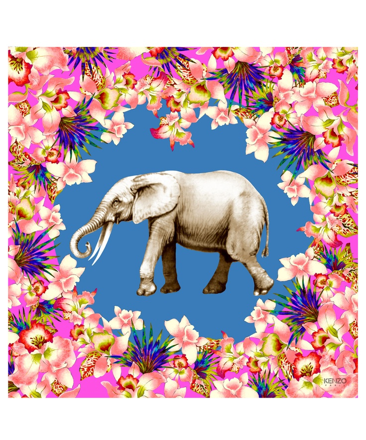 Pink Tropical Elephant Scarf, Kenzo. Shop more silk scarves from the latest Kenzo collection online at Liberty.co.uk.