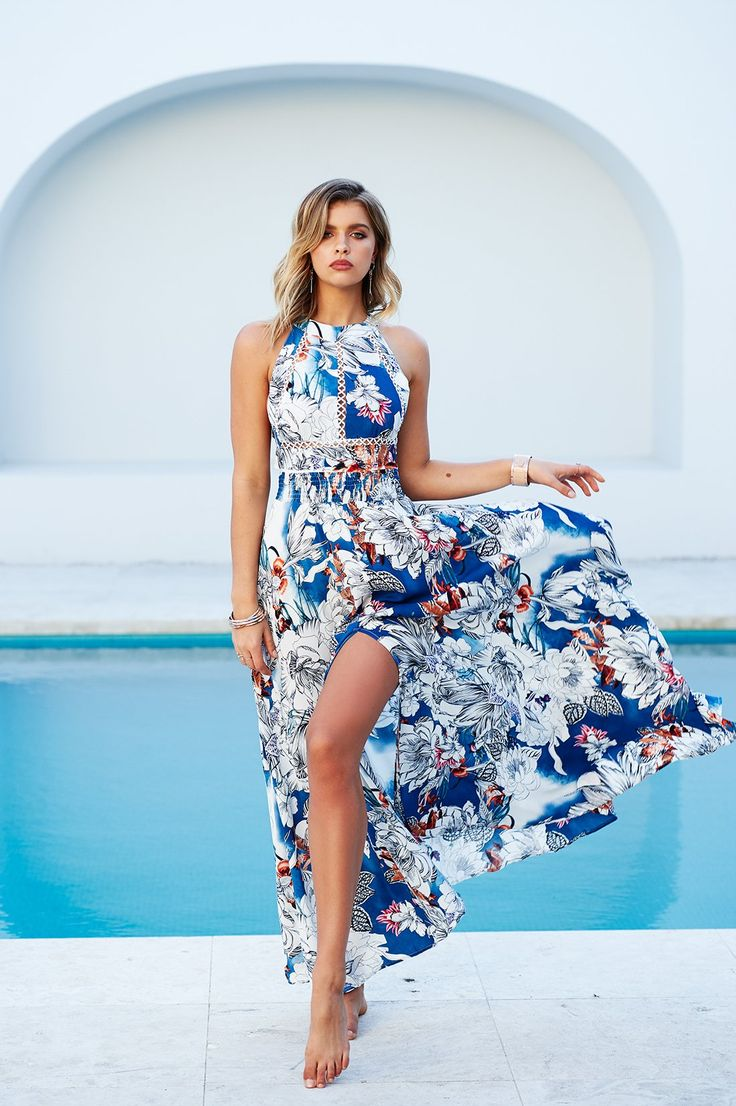 Jaase - Seville Maxi Dress (Blue Floral)