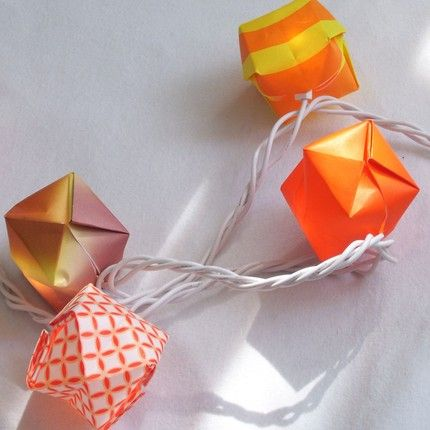 Origami balloon lights. I got so bored being snowed in today that I made 80 of these for Christmas clearance fairy lights. They're so beautiful lit up!