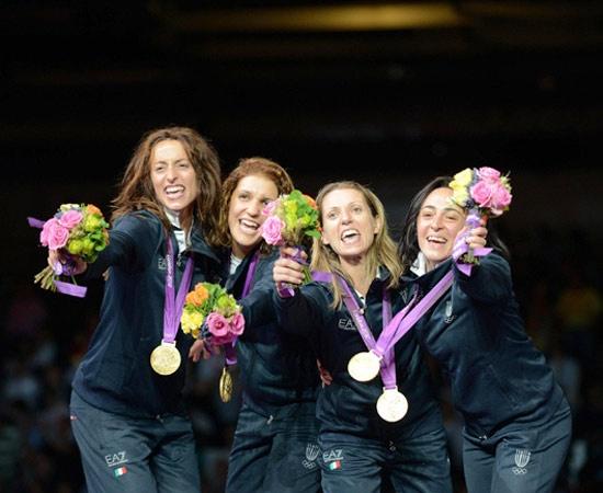 2 agosto - Oro - Fioretto femminile a squadre  Elisa Di Francisca, Arianna Errigo, Valentina Vezzali e Ilaria Salvatori