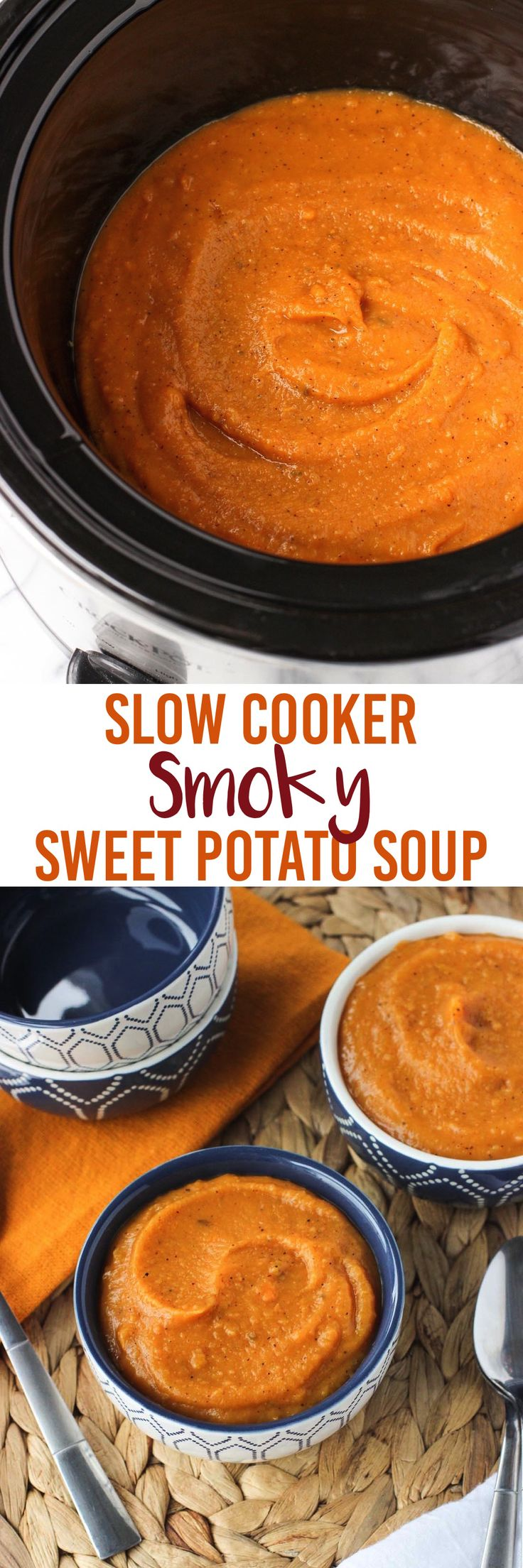 This recipe for smoky sweet potato soup is thick, creamy, and dairy-free! Flavored with a delicious blend of smoky spices, this healthier slow cooker soup has quick and easy prep!