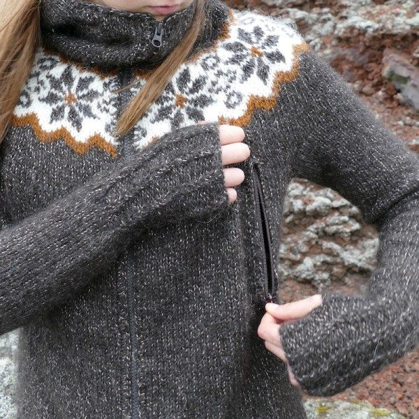Útivist is a great lopi sweater with a zipper, hood and pockets, and a good fit! #helenemagnusson #pattern #lopi #lopisweaters #icelandic #iceland #knitters https://icelandicknitter.com/shop/utivist/