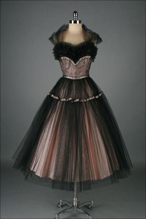 Vintage 1950 S Emma Domb Pink Black Tulle Cocktail Dress