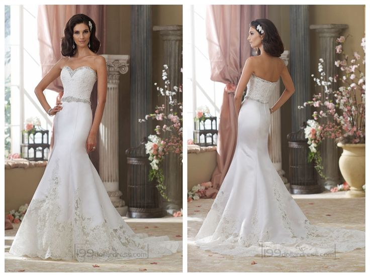 Beaded Sweetheart Lace Appliques Mermaid Wedding Dresses with Jeweled Band Waist