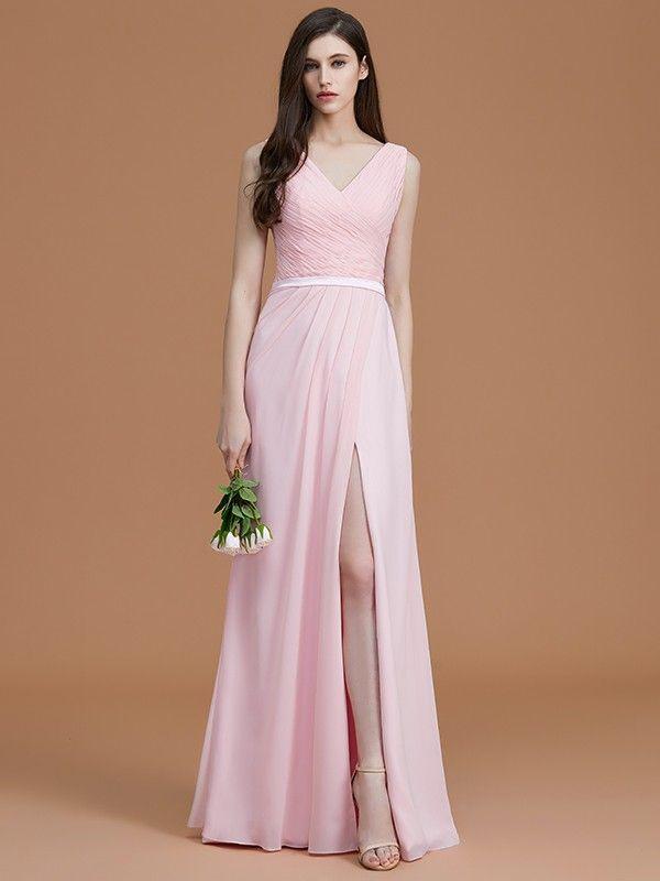 fd6c60038939 A-Line/Princess V-neck Sleeveless Floor-Length Ruched Chiffon Bridesmaid  Dresses - Bridesmaid Dresses - Hebeos Online, Spring, Summer, Fall, Winter,  Chiffon ...