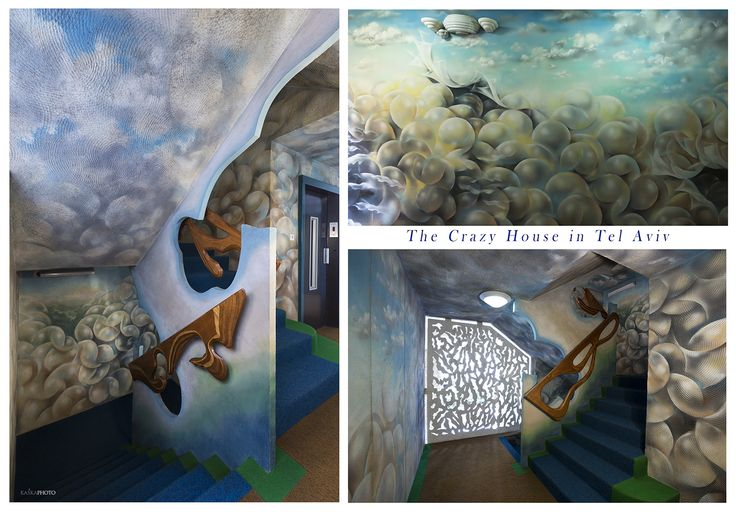 "The ""Crazy House"" in Tel Aviv. All wall painting in the staircase by Shlomith Bollag;  photo by Kaśka Sikora   read more: http://www.haaretz.com/print-edition/business/crazy-houses-1.227341   #luxuryapartments   #apartament  #art  #luxuryhomes #KaśkaSikora #TelAviv #realestate #interior #painting #luxuryrealestate #luxuryhomes #luxurylife #artlovers #designer #decoration #telaviv #interiordesign #gaudistyle #city #Sikora #KatarzynaSikora"
