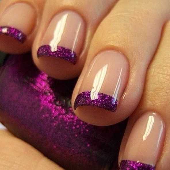Purple French Nails | purple #french #manicure #nails