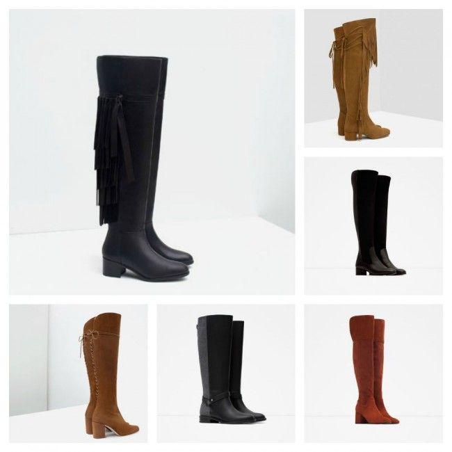 Stivali e Cuissardes alti sopra al ginocchio Zara inverno 2016