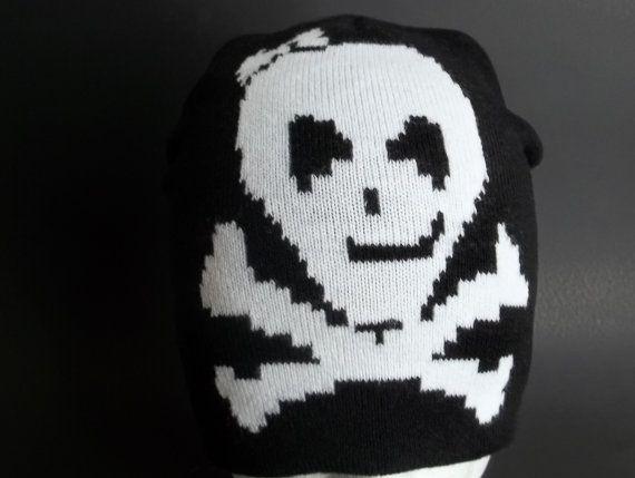 Black Skull Cap Black Beanie with White Cross Bow Skull