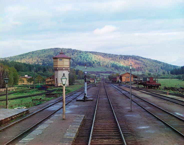 Вид с задней площадки у станции Симская Самаро-Златоустовской железной дороги, Уфимская губерния, 1909 г.