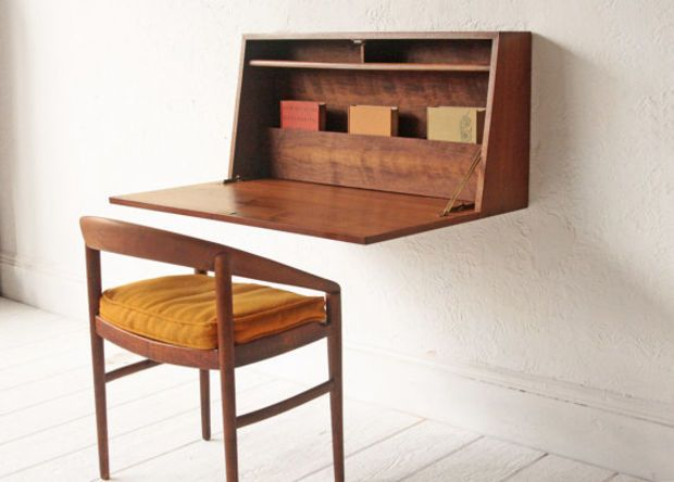 Floating Collapsible Desk Mid Century Cabinet Cupboard