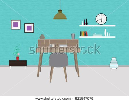 Study room with furniture interior design vector format