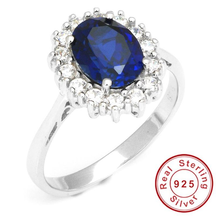 Diana William 2.5ct Blue Sapphire Engagement Wedding Ring Fine Jewelry Only $29.99 => Save up to 60% and Free Shipping => Order Now! #Bracelets #Mystic Topaz #Earrings #Clip Earrings #Emerald #Necklaces #Rings #Stud Earrings