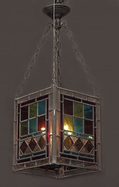 Antique English Stained Glass Hall Lantern, circa 1890s | Keils Antiques | New Orleans | Since 1899