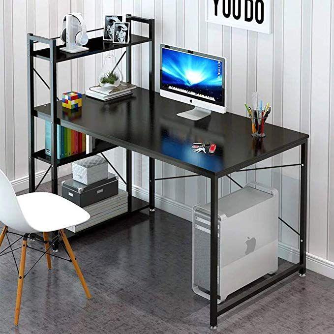 Amazon Com Tower Computer Desk With 4 Tier Shelves 47 6 Multi Level Writing Study Table With Bookshelves Modern Steel Fra Best Home Office Desk Home Office Desks Office Workstations